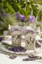 Fotografie květin, fotky květinových dekorací pro publikace na téma fotografie, květiny, kytky, dekorace, fotky, decoration, flower, garden, lamp, lantern, lavender, nobody, outdoor, plate, summer, table, white